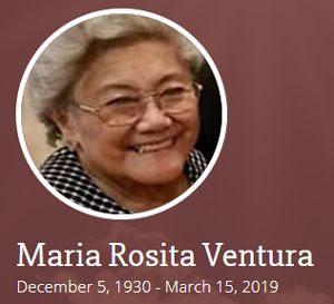 Rest In Peace, Mrs. Ventura.