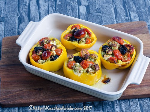 Baked Peppers filled with Tomatoes and Feta