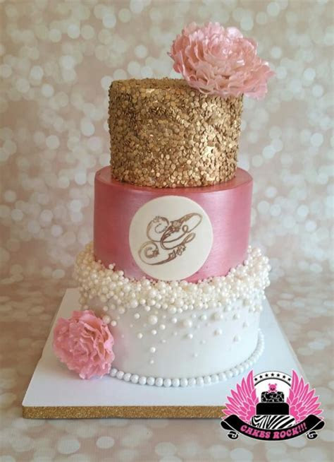 Gold, Pearls, and Pink Baby Shower   Cake by Cakes ROCK