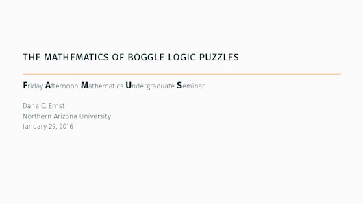 The mathematics of Boggle logic puzzles