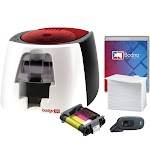 Badgy100 ID Card Printer & Complete Supplies Package with Bodno Bronze Edition ID Software