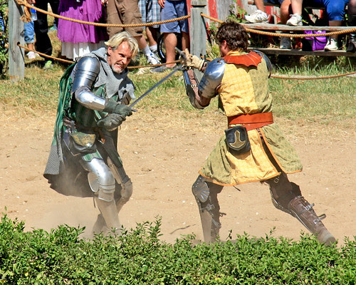So the two knights have a sword fight at the KC ren-fest.
