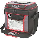 Coleman Portable Outdoor Camping Soft Cooler Shoulder Bag, Red/Black, 30 can