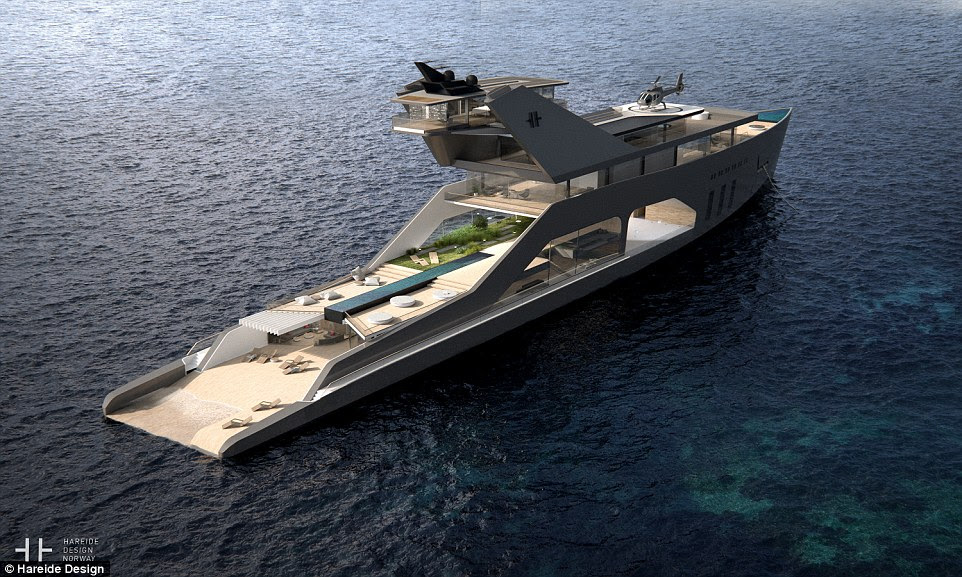 Norway's Hareide Design has imagined a hybrid superyacht that has a layout and a number of amenities that appeals to the ultra-rich