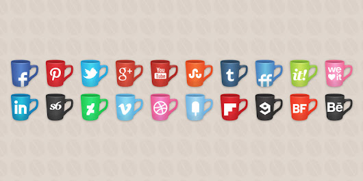20 Social icons coffee cups style set | S-Icons.com