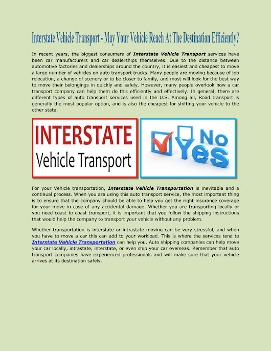 Interstate vehicle transport may your vehicle reach at the destination efficiently