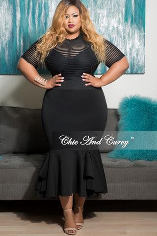 Bottom ray ruffle dress with bodycon x panties