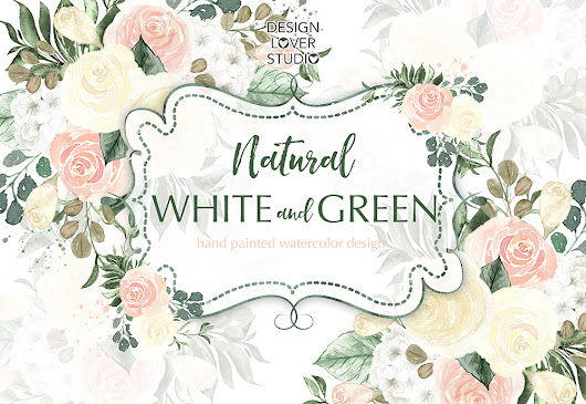Watercolor Natural White and Green flow | Design Bundles