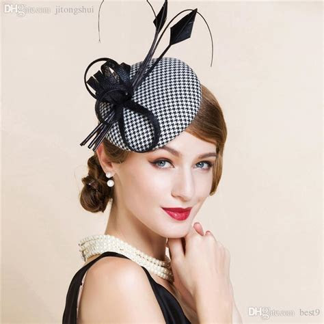 2018 Wholesale Black And White England Style Fascinator