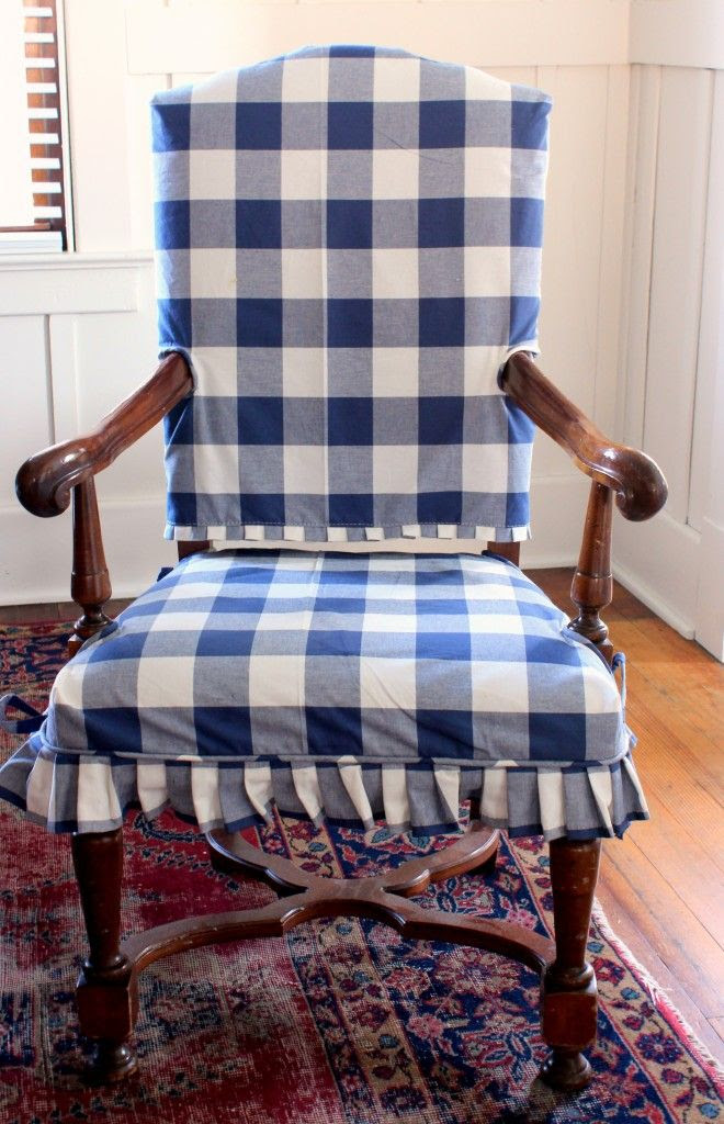 from Ebbtide beach cottage: buffalo check slipcover @Tessa McDaniel McDaniel McDaniel McDaniel McDaniel McDaniel love the pleats!