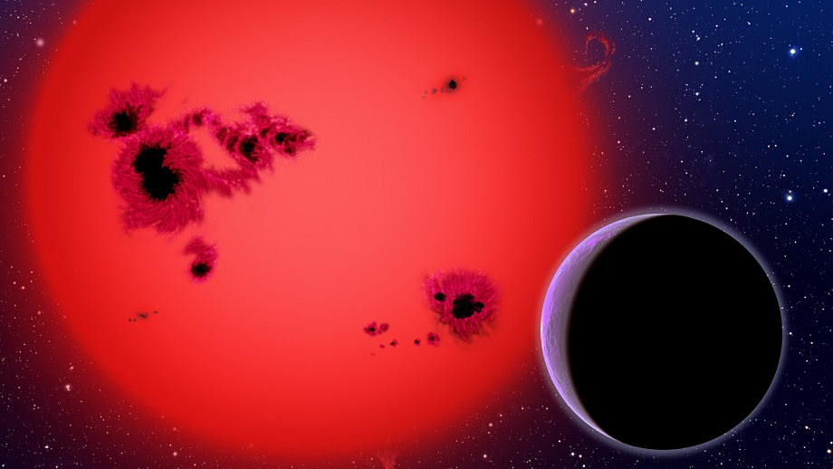 Artist's conception of an exoplanet orbiting a cool red dwarf star like TWA 35/36 in the study. Illustration credit: David A. Aguilar (CfA/Harvard-Smithsonian).