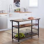 Carbon Loft Leslie Metal Frame Rustic Kitchen Cart with Wood Tabletops and Shelves (Cart-Brown)
