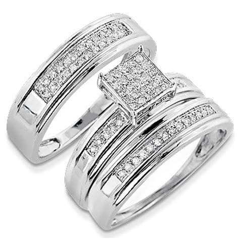 Discount Engagement Rings: Silver Diamond Trio Ring Set 0.32ct