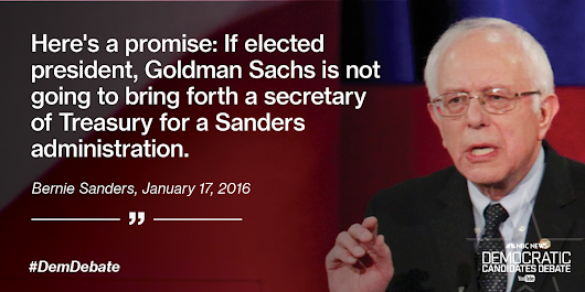 "MSNBC on Twitter: ""Sanders promises Goldman Sachs won't bring forth a secretary of Treasury if he's elected:  """
