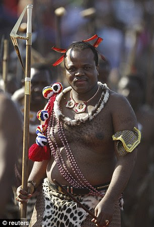 Amorous: As part of Swazi custom, King Mswati II, 45, is permitted to choose a new bride every year