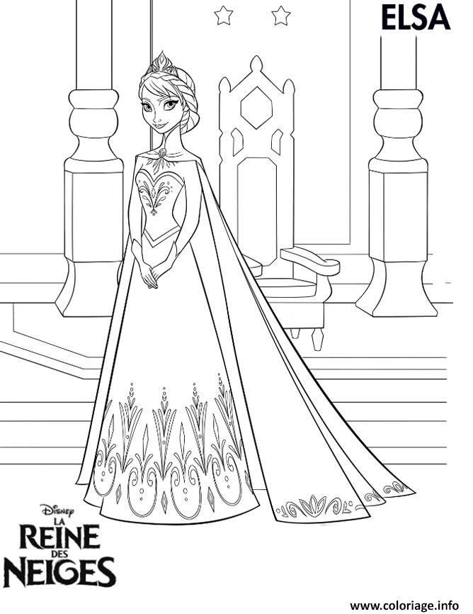 Coloriage Princesse Elsa Reine Des Neiges Jecoloriecom
