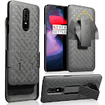 OnePlus 6 Case with Clip, Nakedcellphone Black Kickstand Hard Cover with [Rotating/Ratchet] Belt Hip Holster Combo for OnePlus 6 (A6000,A6003)