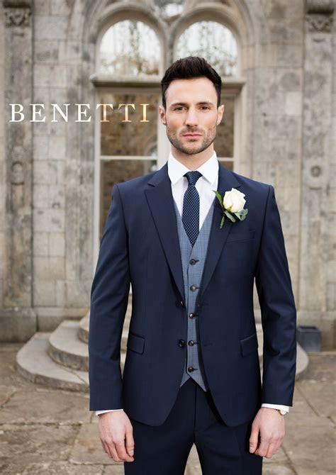 Benetti Micro Pattern 3 Piece Navy Suit   Tom Murphy's