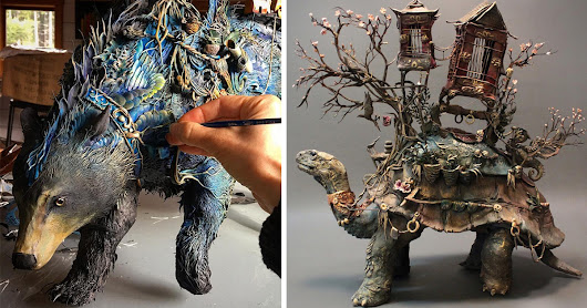 A Menagerie of Ceramic Animals Covered in Surreal Landscapes of Flora and Fauna by Ellen Jewett