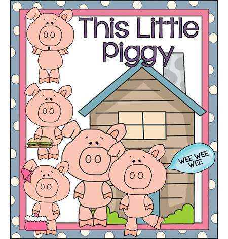 This Little Piggy Nursery Rhyme - Printable Line Drawings - FreeQuilt.com - Applique Pattern