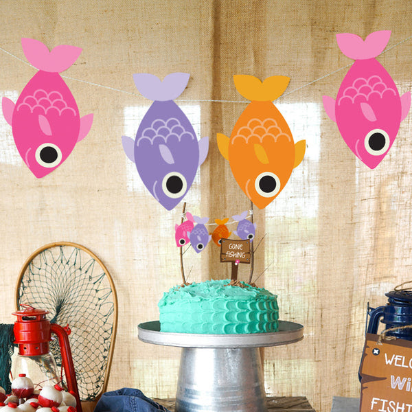 Download Girl S Fishing Party Garland Fish On A Rope Party Banner Gone Fishi Sunshine Parties