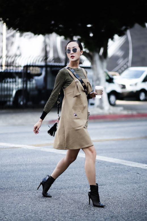 Le Fashion Blog Striped Long Sleeved Shirt Khaki Colored Dress Boots Crossbody Bag Via The Chriselle Factor