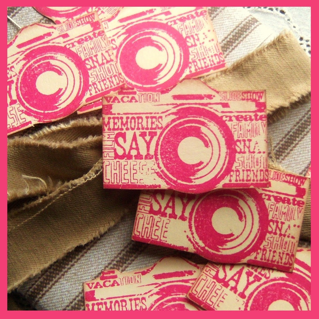 Camera Embellishments, Shaped, Smile, Pink, Red, Subway Art Inspired with Text