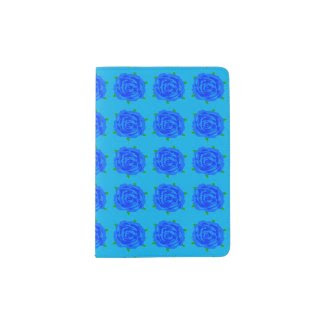 Blue Roses Repeat on Passport Holder