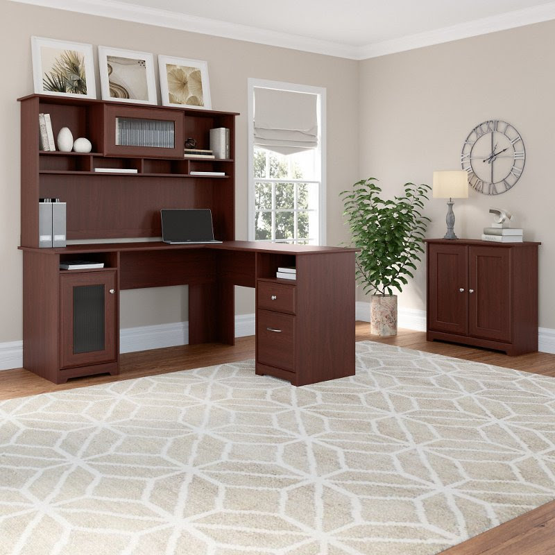 Harvest Cherry L Shaped Desk With Hutch And Small Storage Cabinet