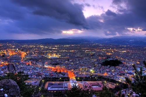 Looking down on Fukushima city
