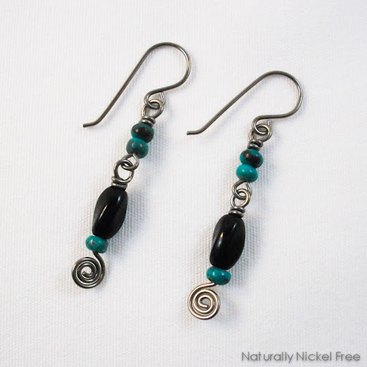 Turquoise and Black Bead Niobium Spiral Earrings