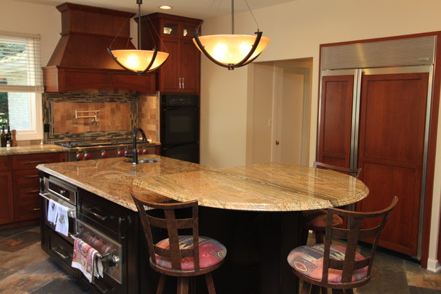 Rustic Craftsman Cherry Kitchen with Contrasting Espresso ...
