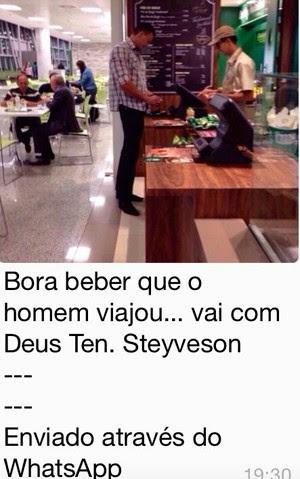 Foto do tenente Styvenson embarcando para Brasília se espalhou nas redes sociais  (Foto: Autoria desconhecida)