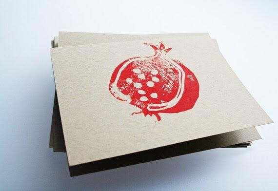 Pomegranate. Linocut block print.