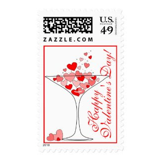 Happy Valentine's Day Hearts in a Cocktail Glass Postage Stamps