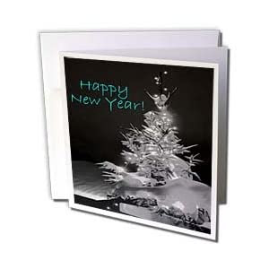 Yves Creations Pretty Christmas Tree - Pretty Christmas Tree Happy New Year in Black and White With Light Blue Text - Greeting Cards-12 Greeting Cards with envelopes