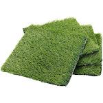"4-Pack 12""x12"" Artificial Grass Rug Carpet, Fake Grass Synthetic Turf Mat for Pet Garden Lawn Indoor Outdoor, Green"