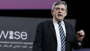 Gordon Brown speaking in Doha, Qatar