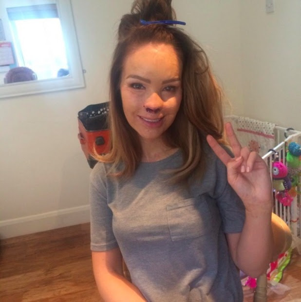 Katie Piper gets her hair 'tamed' before filming her new show Extraordinary Births, 21 August 2015