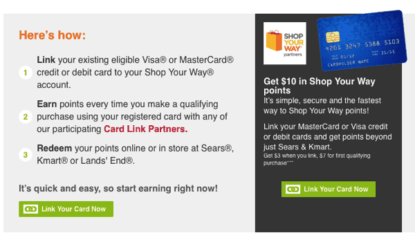 Shop your Way Rewards: Link your Eligible Visa & Mastercard