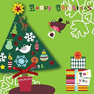 """ Happy Christmas "" Hand Finished Boxed Christmas Cards (5 Cards Per Box) - BSB204"