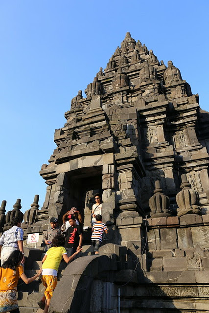 Locals and tourists alike swarming the Prambanan Temples