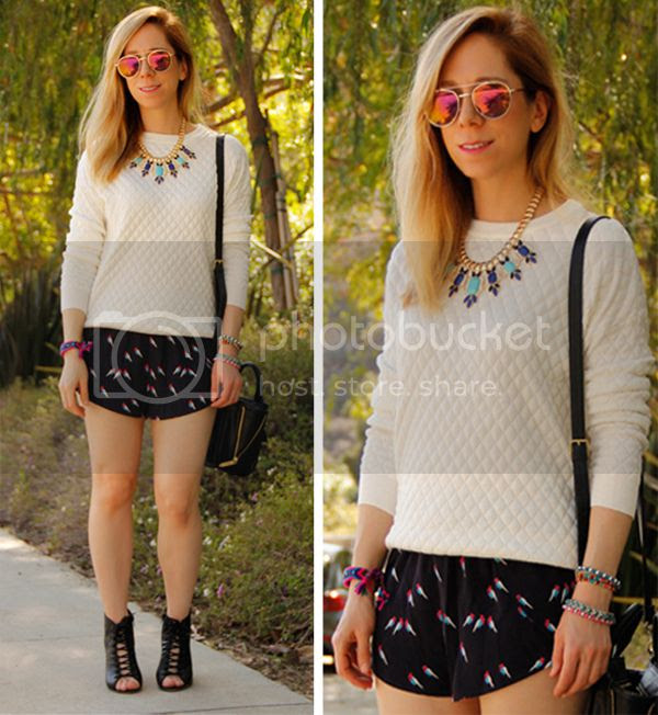 LA fashion blogger The Key To Chic wears an Xhilaration quilted sweater with Grayson Shop parrot printed shorts, a bejeweled statement necklace and Aldo Trorecia booties