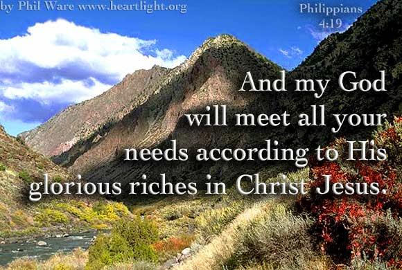 Inspirational illustration of Philippians 4:19