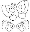 Okul Öncesi Kelebek Kalıpları * Kelebek Boyama Sayfası