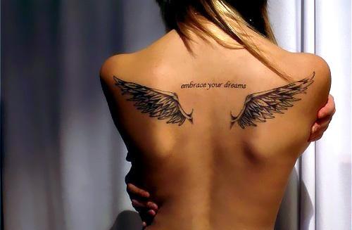 Small Wing Shaped Girls Tattoo Design On Upper Back Tattoomagz
