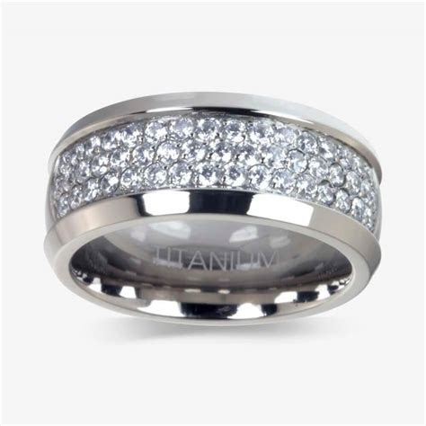 mens titanium diamonflash cubic zirconia ring