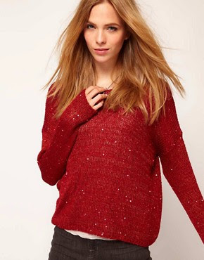 Image 1 of Selected Besta Knitted Jumper With Sequin Detail