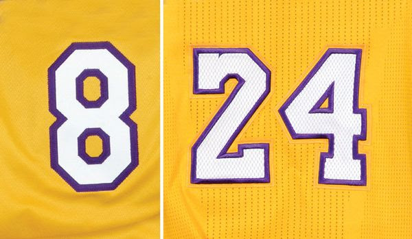 Kobe Bryant's two jersey numbers, 8 and 24, will be retired by the Los Angeles Lakers at STAPLES Center on December 18, 2017.