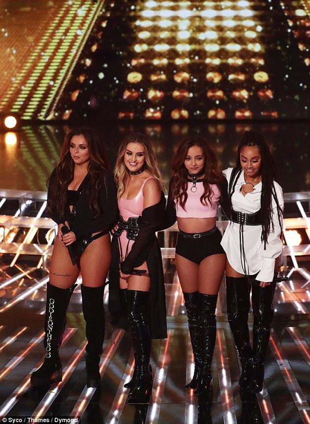 Cheerleader: Little Mix foram acusados de 'vestir-se como strippers' em The X Factor no domingo, mas eles têm um torcedor - do Jesy Nelson futura mãe-de-lei Coleen Nolan